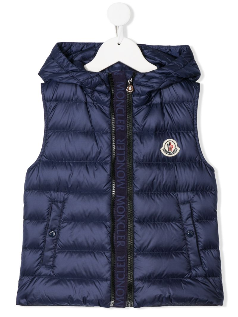 MONCLER KIDS: Christie sleeveless down jacket in nylon Color Blue_1