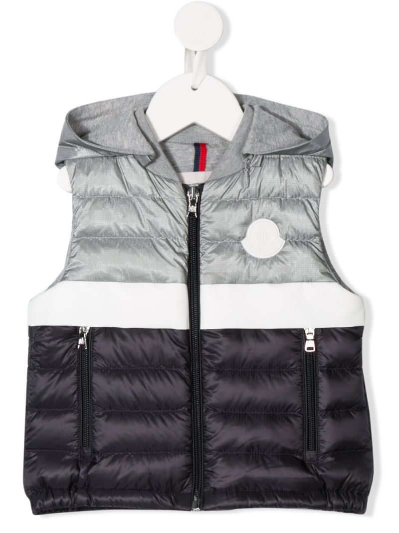 MONCLER KIDS: Cazaux nylon sleeveless down jacket Color Silver_1