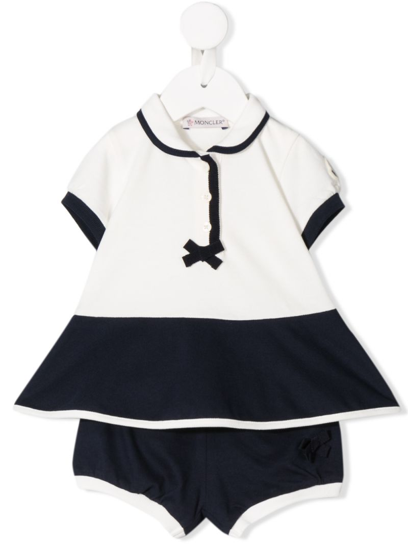 MONCLER KIDS: stretch piquet dress with bloomers Color White_1