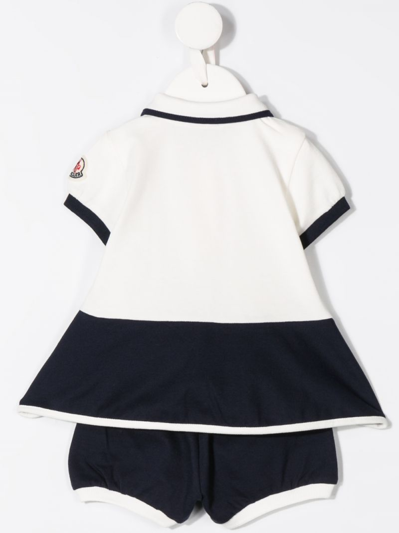 MONCLER KIDS: stretch piquet dress with bloomers Color White_2