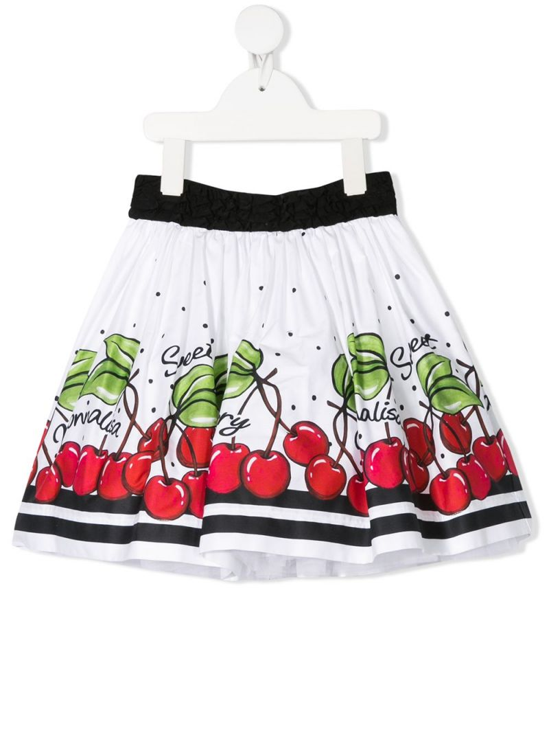 MONNALISA: cherry print cotton circle skirt Color White_1