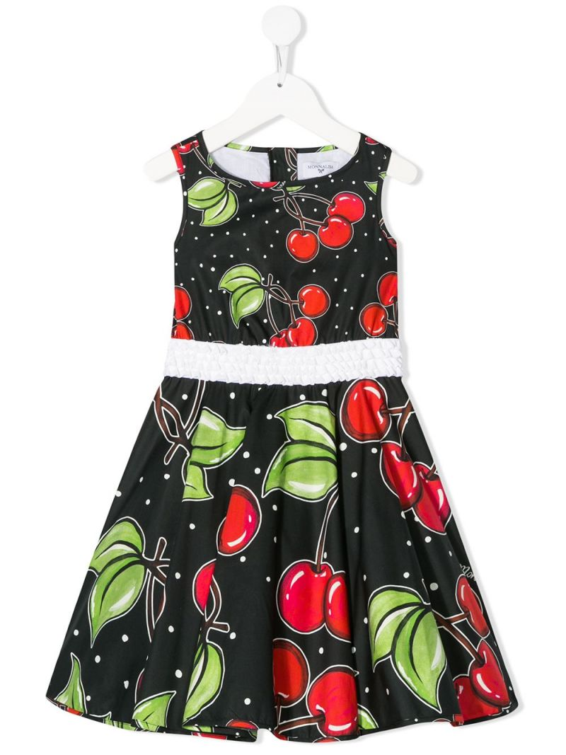 MONNALISA: cherry print cotton sleeveless dress Color Black_1