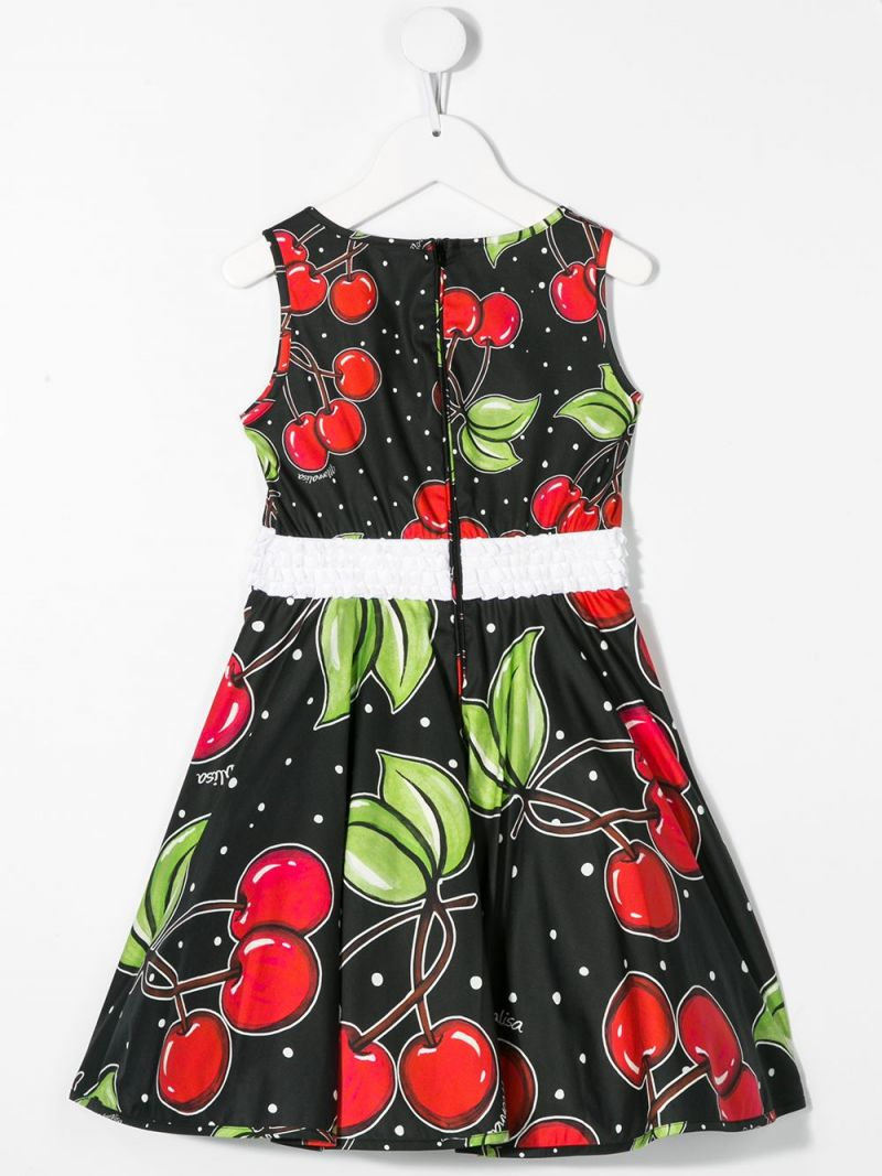 MONNALISA: cherry print cotton sleeveless dress Color Black_2