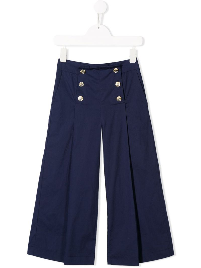 MONNALISA: cotton wide-leg pants Color Blue_1