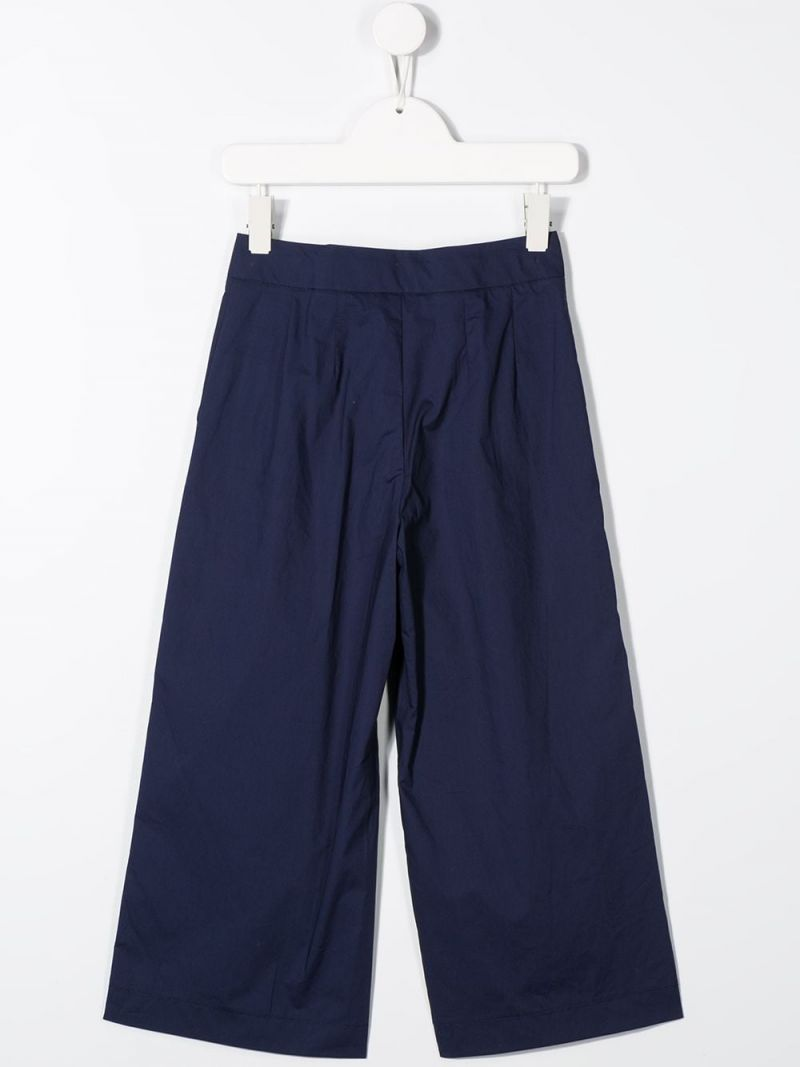 MONNALISA: cotton wide-leg pants Color Blue_2