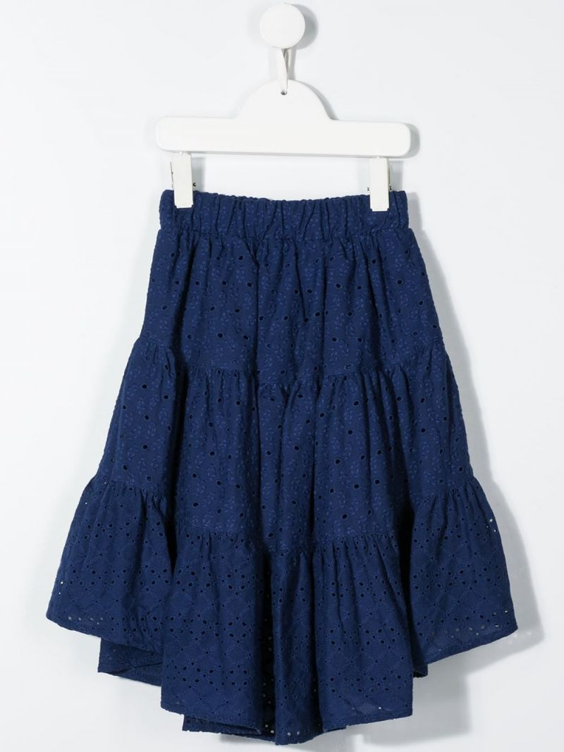 MONNALISA: broderie anglaise flounced skirt Color Blue_2