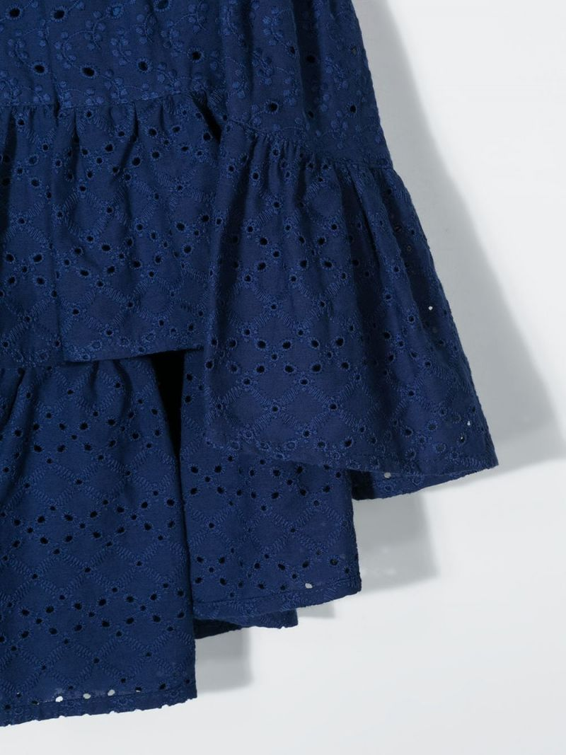 MONNALISA: broderie anglaise flounced skirt Color Blue_3