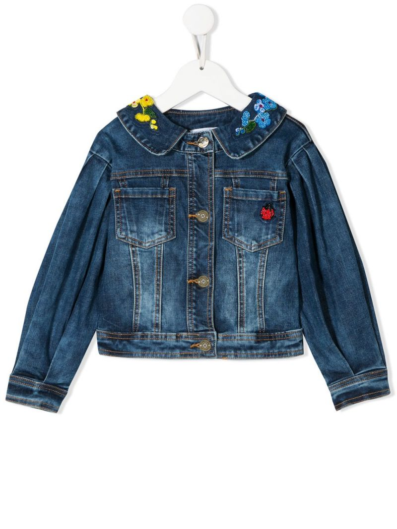 MONNALISA: floral embroidered denim jacket Color Blue_1