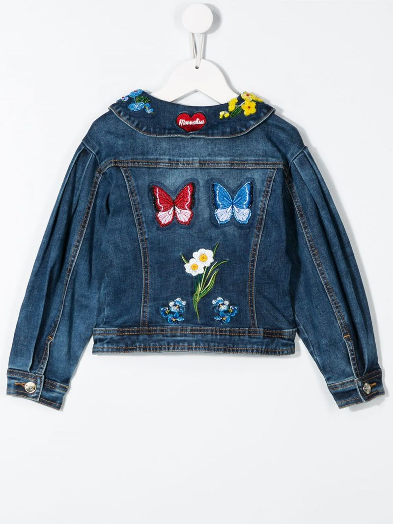 MONNALISA: floral embroidered denim jacket Color Blue_2
