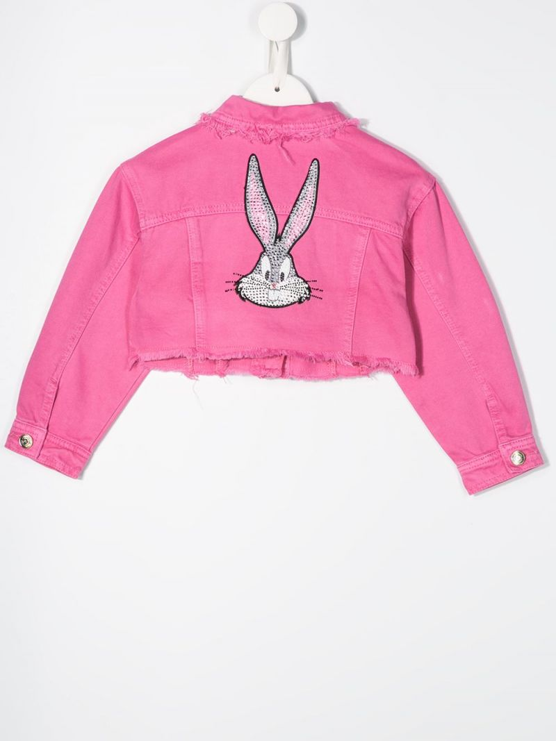 MONNALISA: Bugs Bunny print cropped denim jacket Color Pink_2