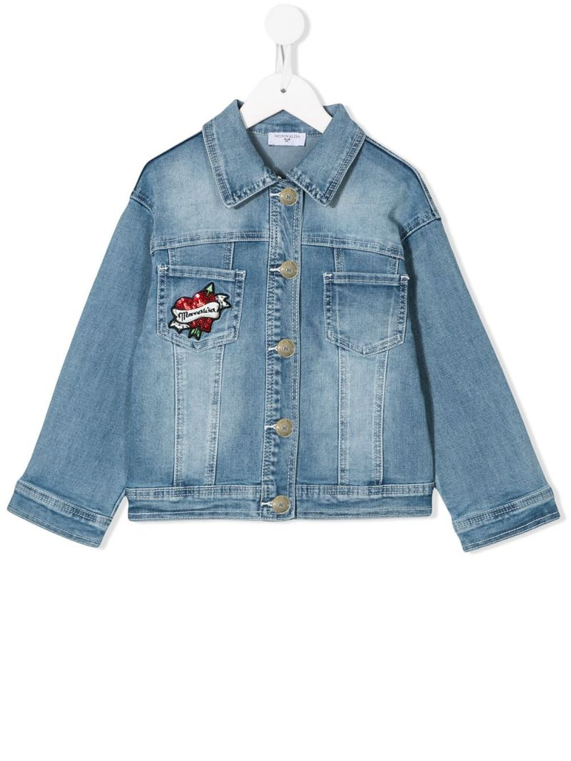 MONNALISA: Minnie embroidered denim jacket Color Grey_1