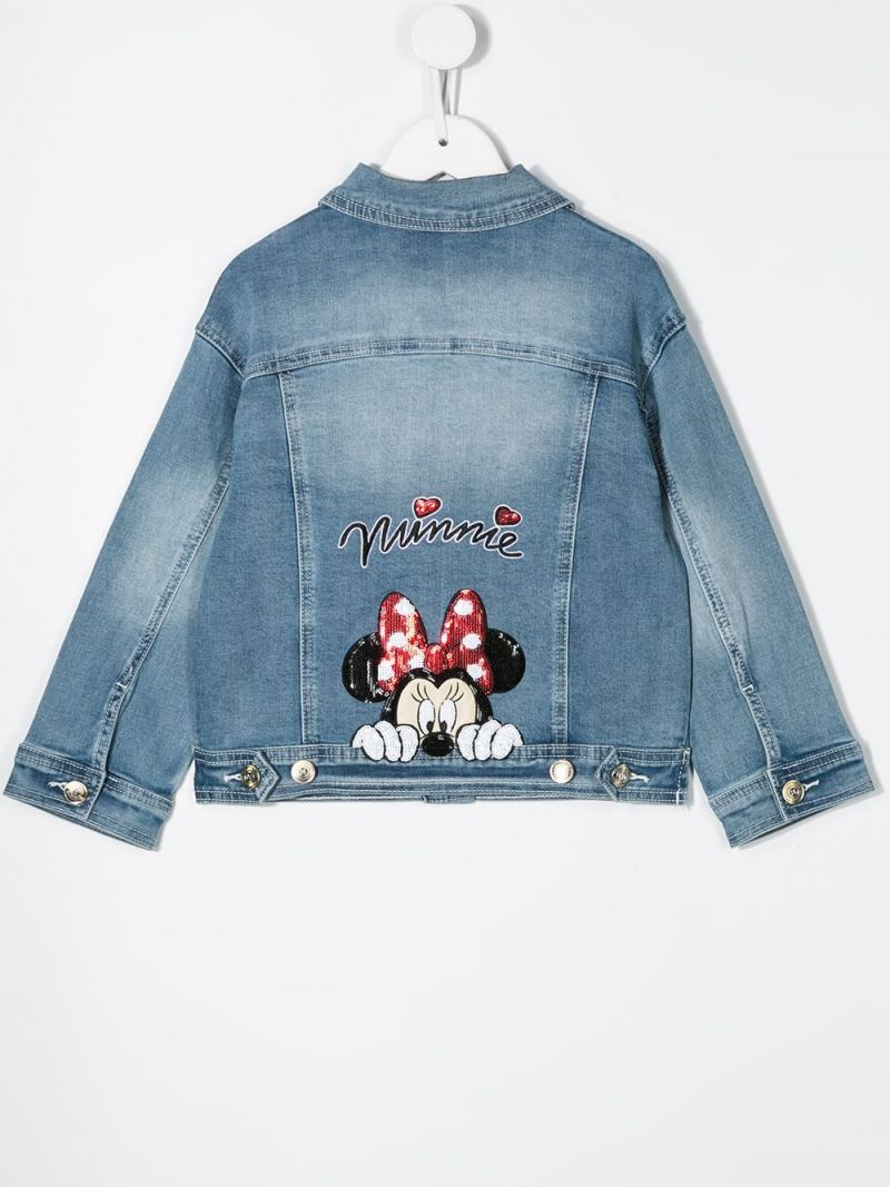 MONNALISA: Minnie embroidered denim jacket Color Grey_2