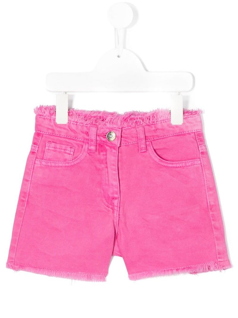MONNALISA: Bugs Bunny embroidered denim shorts Color Pink_1