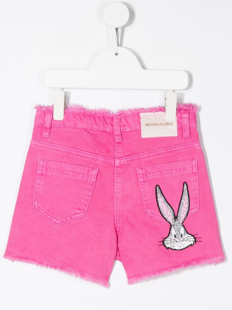 MONNALISA: Bugs Bunny embroidered denim shorts Color Pink_2