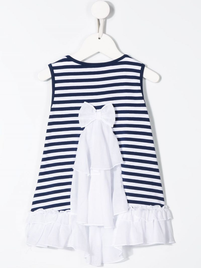 MONNALISA: striped cotton blend sleeveless dress Color White_2