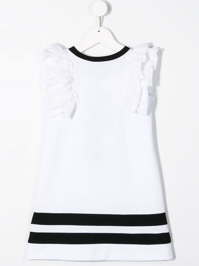 MONNALISA: Minnie embroidered cotton blend sleeveless dress Color White_2
