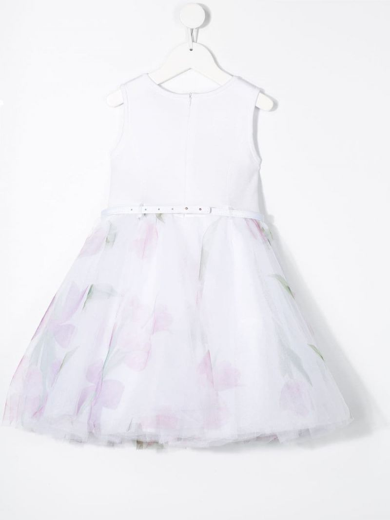 MONNALISA: printed tulle and jersey sleeveless dress Color White_2