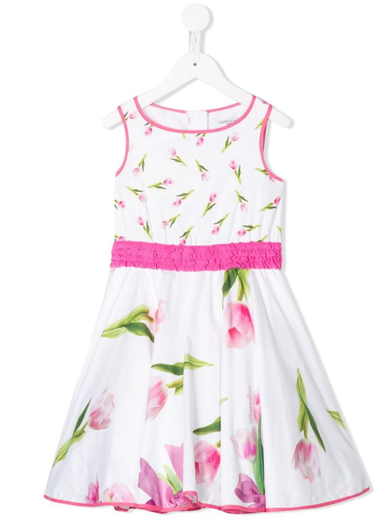 MONNALISA: floral print cotton sleeveless dress Color White_1