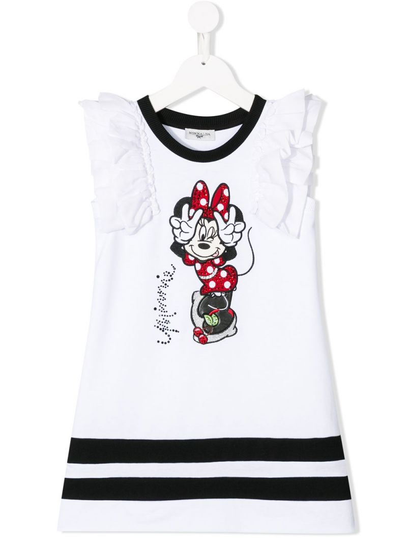 MONNALISA: Minnie embroidered cotton blend sleeveless dress Color White_1