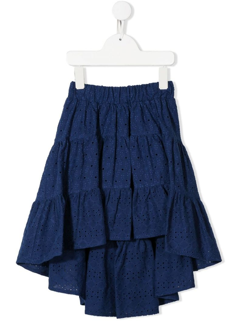 MONNALISA: broderie anglaise flounced skirt Color Blue_1