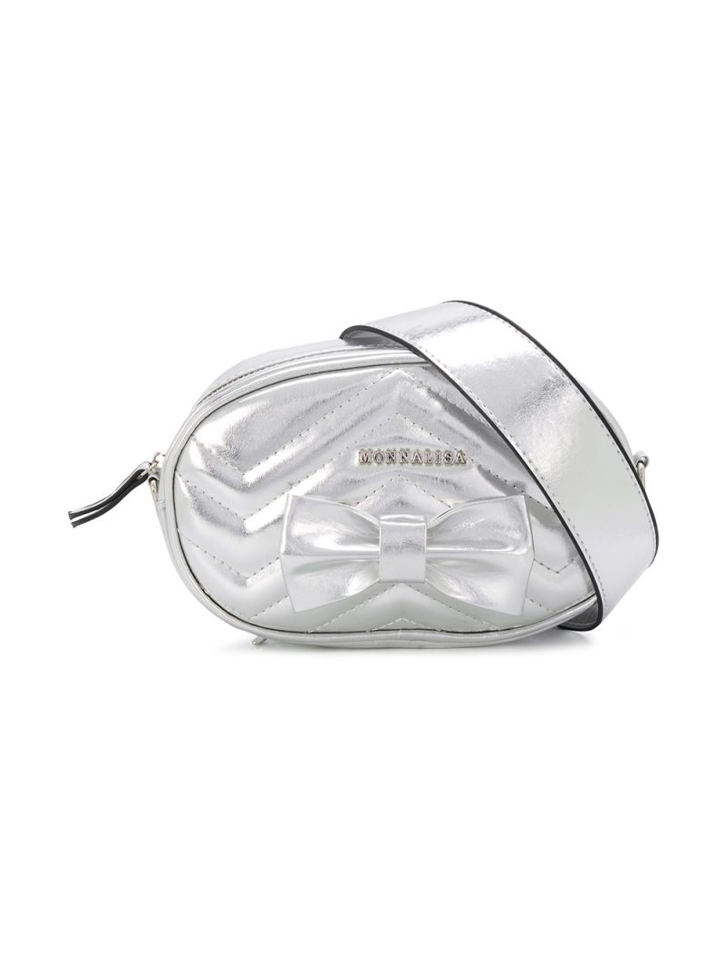 MONNALISA: bow-detailed laminated faux leather belt bag Color Silver_1