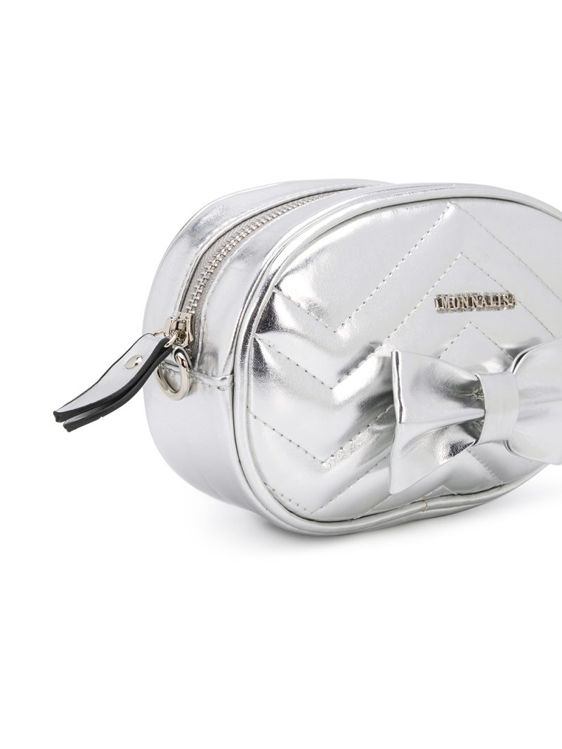 MONNALISA: bow-detailed laminated faux leather belt bag Color Silver_2