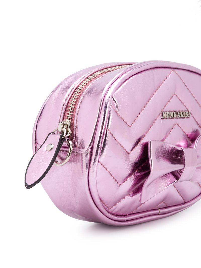 MONNALISA: bow-detailed laminated faux leather belt bag Color Pink_2
