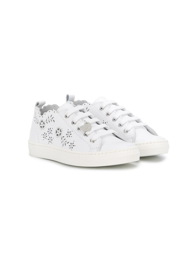 MONNALISA: laser-cut detailed smooth leather sneakers Color White_1