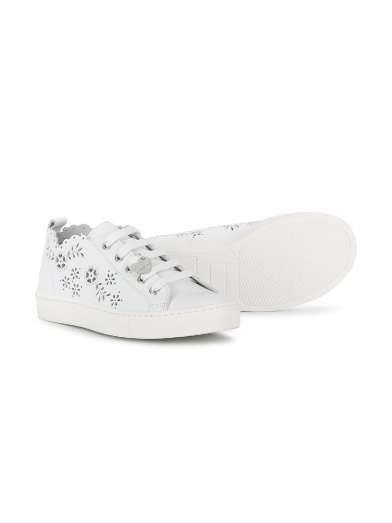MONNALISA: laser-cut detailed smooth leather sneakers Color White_2