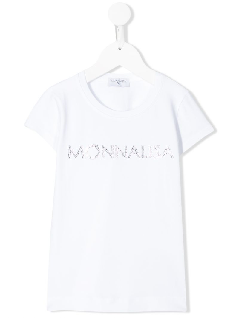 MONNALISA: t-shirt in jersey con logo in strass Colore Bianco_1