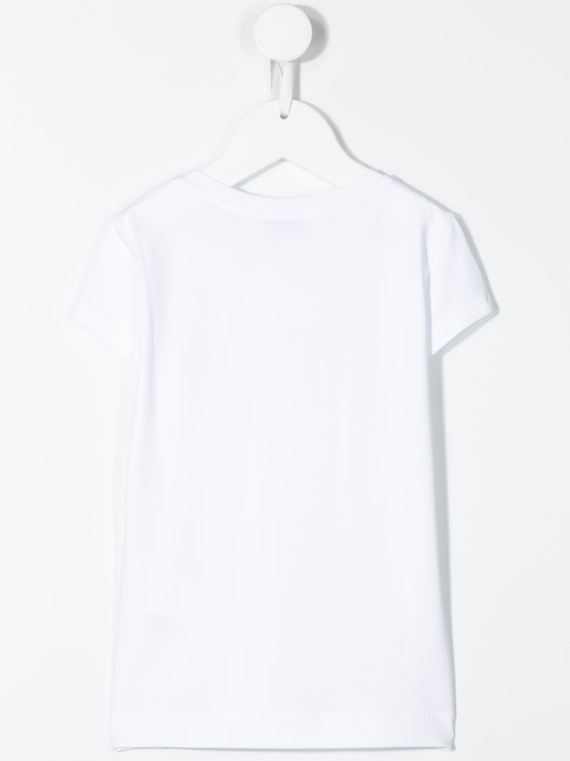 MONNALISA: t-shirt in jersey con logo in strass Colore Bianco_2