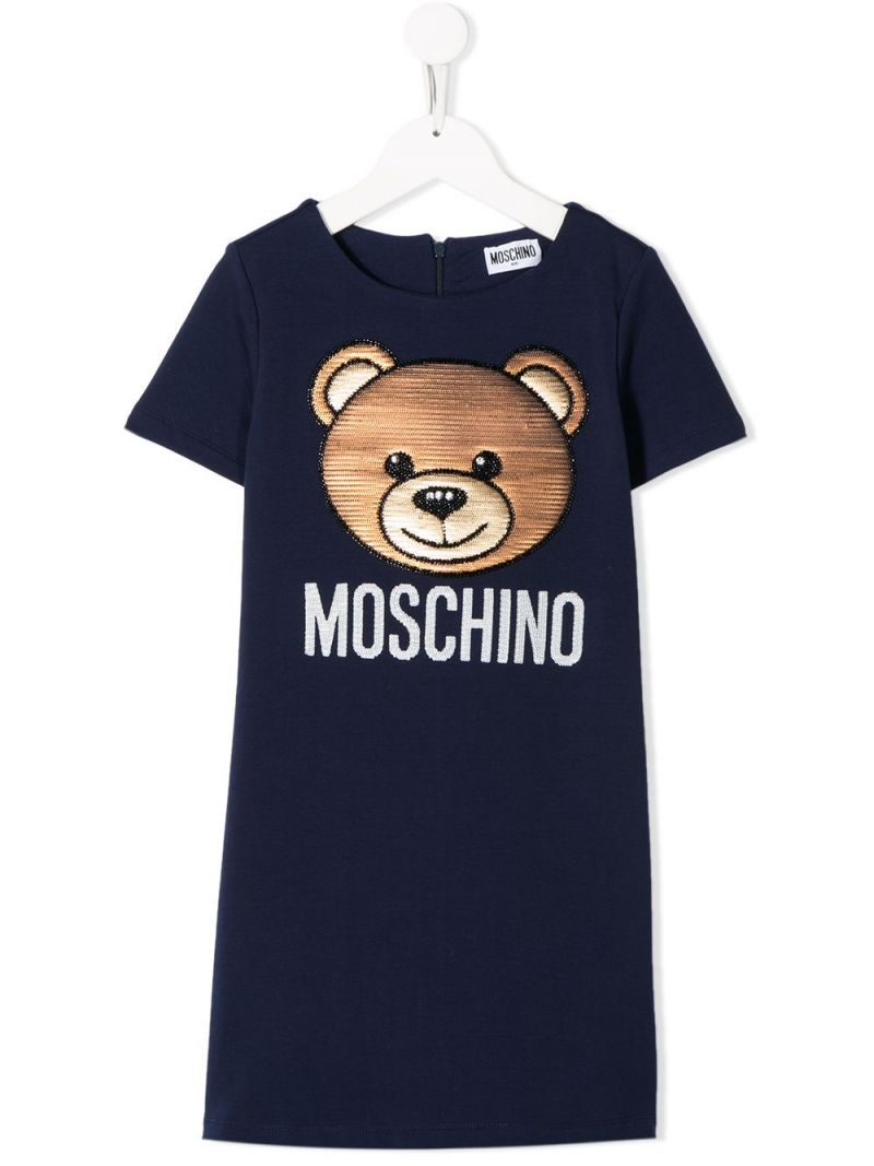 MOSCHINO KIDS: abito in cotone stretch ricamo Moschino Teddy Bear Colore Blu_1