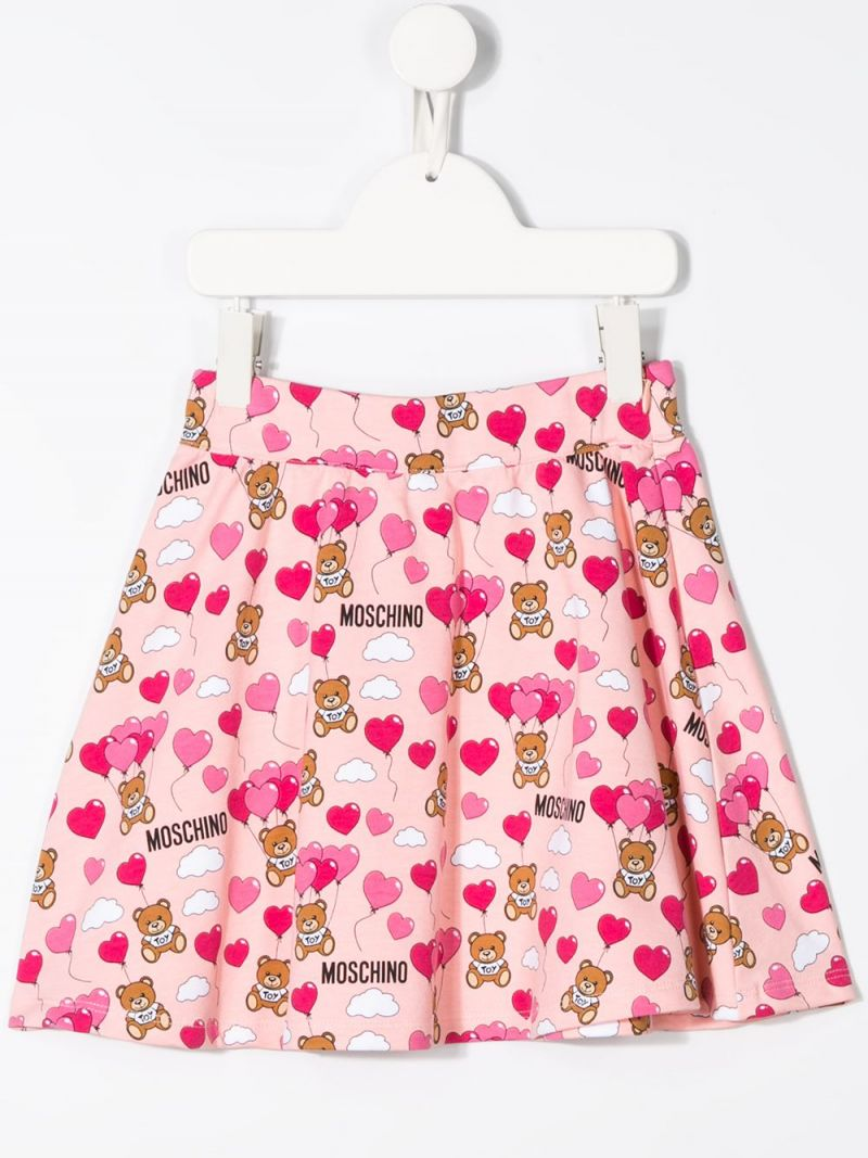 MOSCHINO KIDS: Heart Balloons Teddy Bear stretch cotton skirt Color Pink_2