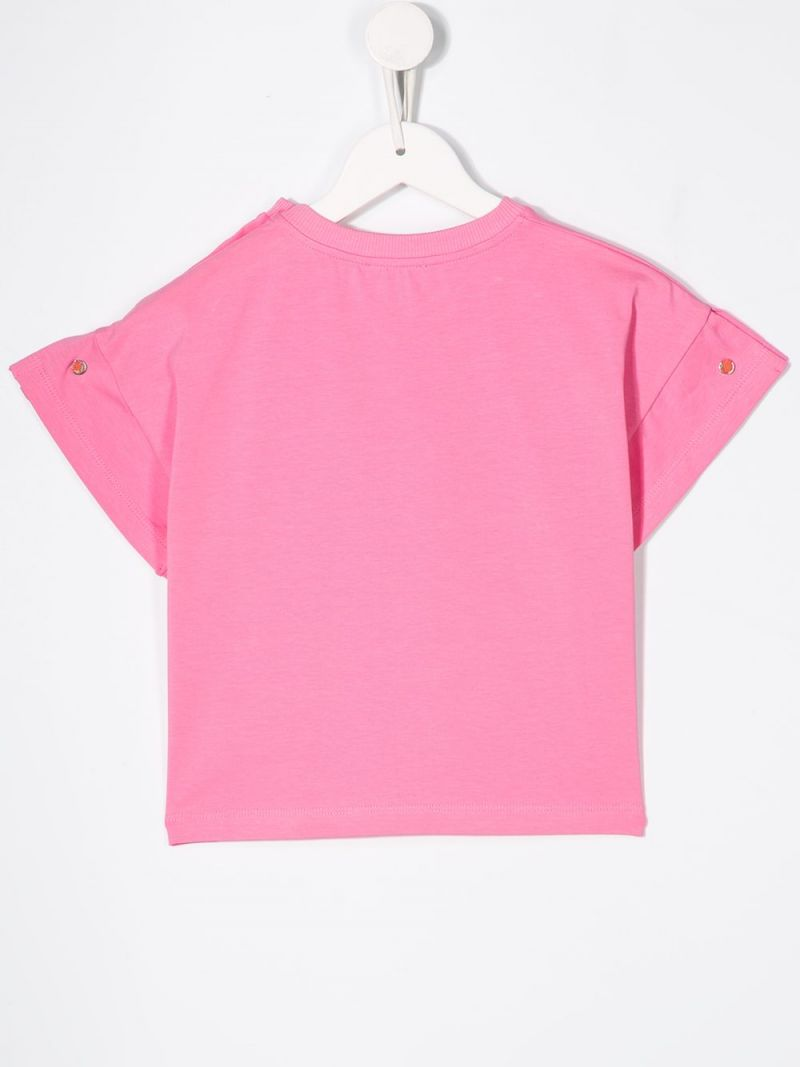 MOSCHINO KIDS: Heart Balloons Teddy Bear stretch cotton t-shirt Color White_2