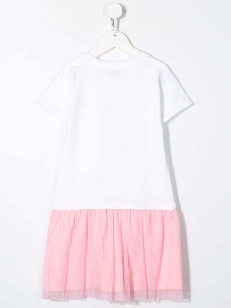 MOSCHINO KIDS: Heart Balloons Teddy Bear stretch cotton and tulle dress Color White_2