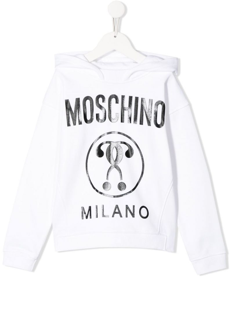 MOSCHINO KIDS: Double Question Mark print cotton hoodie Color White_1