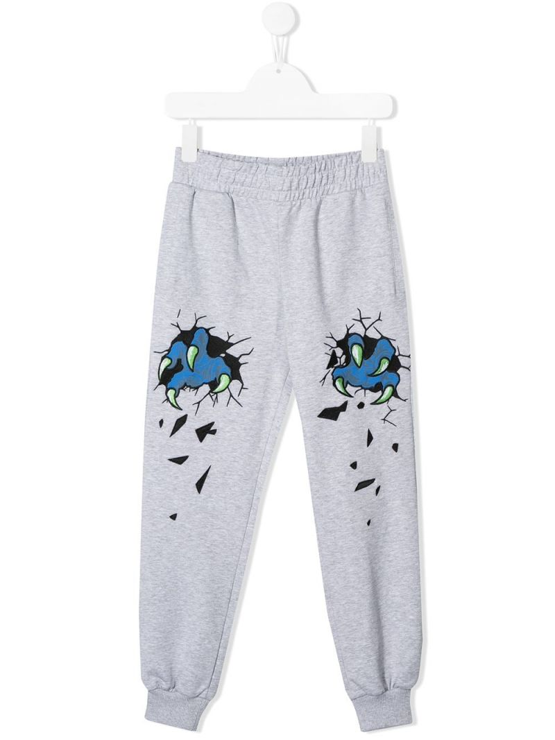 MOSCHINO KIDS: Monster Hands cotton blend joggers Color Grey_1