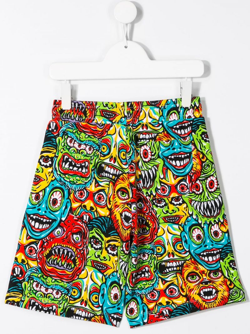 MOSCHINO KIDS: Moschino Monsters stretch cotton shorts Color Multicolor_2