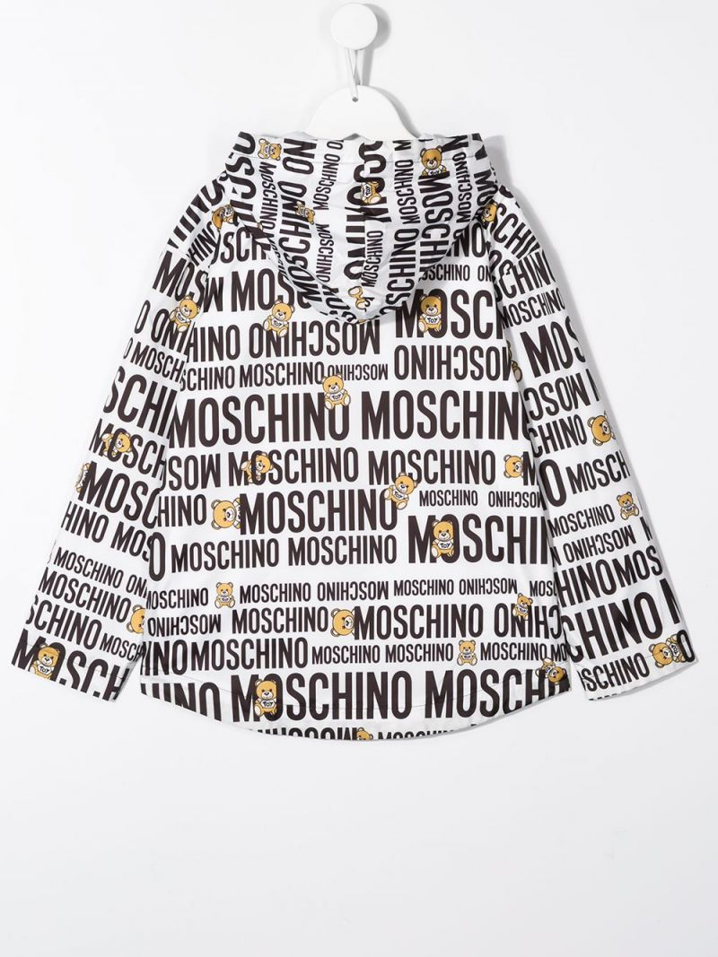 MOSCHINO KIDS: Teddy Logo nylon windbreaker Color White_2
