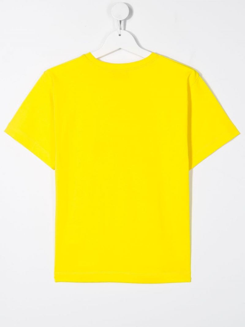 MOSCHINO KIDS: Skateboarder Teddy Bear stretch cotton t-shirt Color Yellow_2