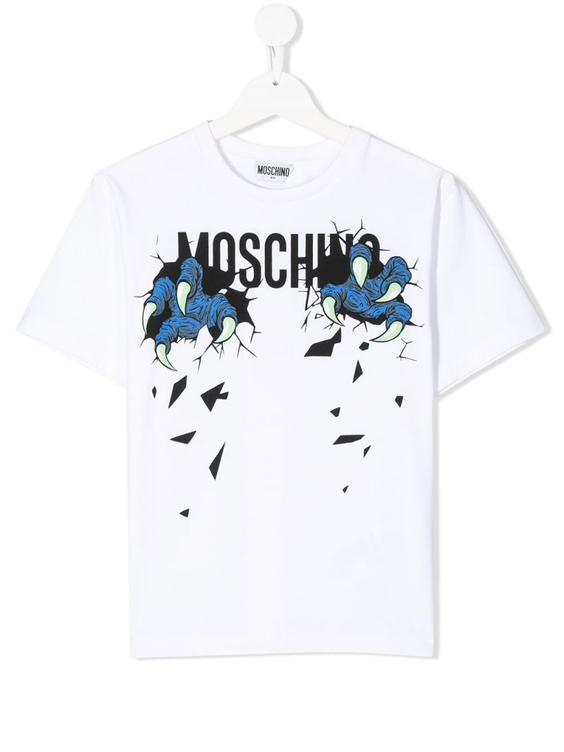 MOSCHINO KIDS: Monster Hands cotton blend t-shirt Color White_1