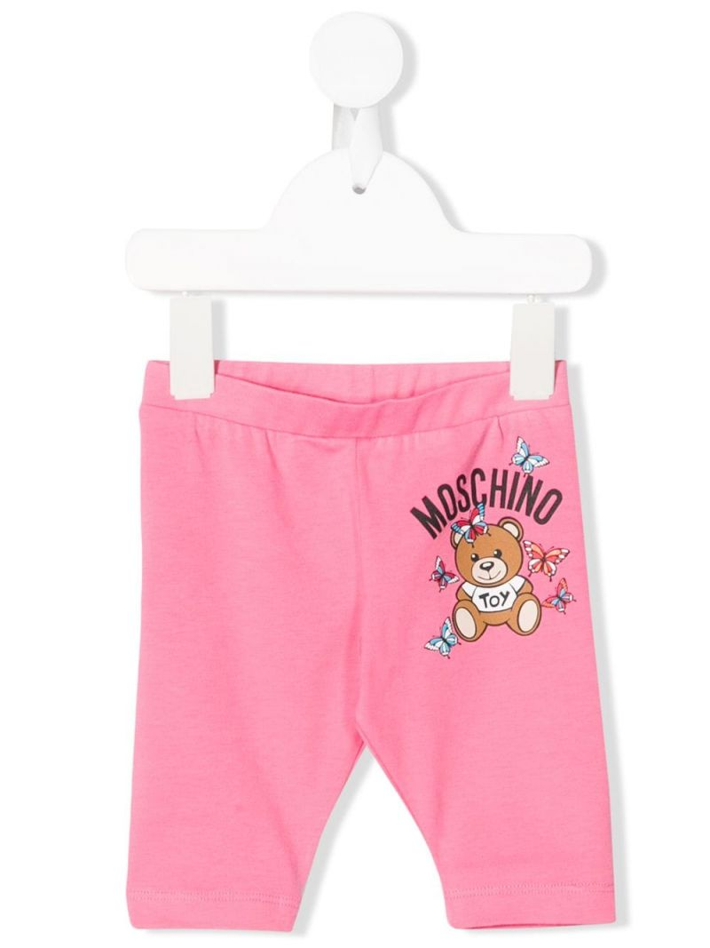 MOSCHINO KIDS: Moschino Teddy Bear print cotton blend leggings Color White_1