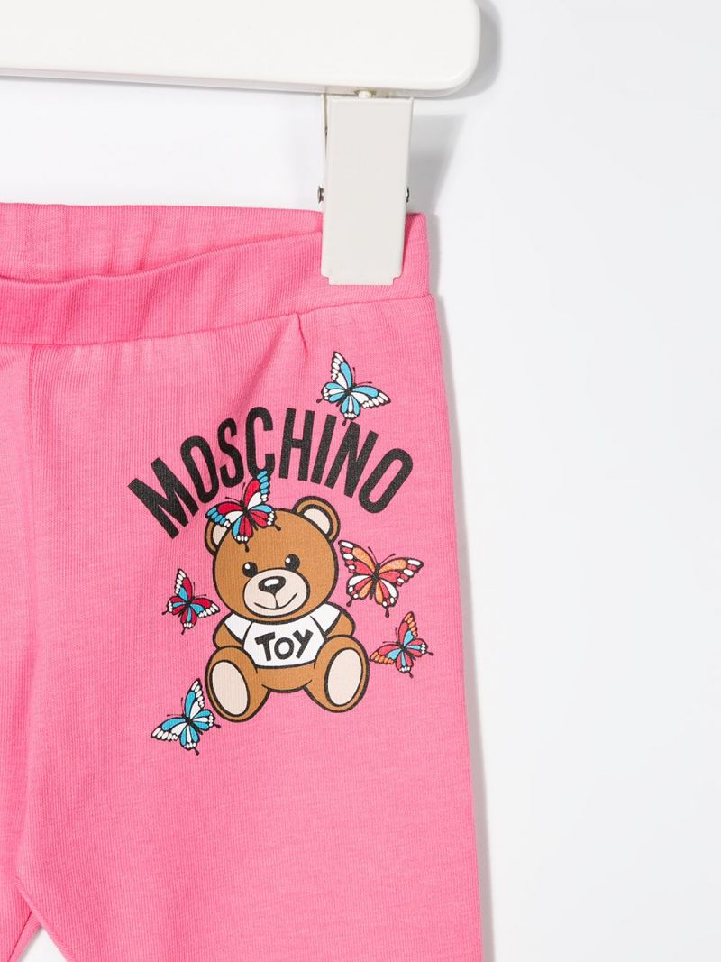 MOSCHINO KIDS: Moschino Teddy Bear print cotton blend leggings Color White_2