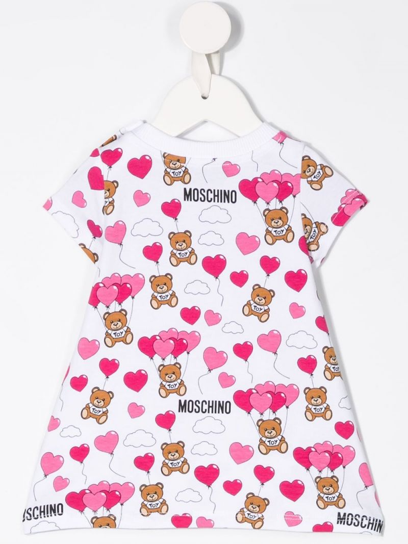 MOSCHINO KIDS: Heart Balloons Teddy Bear jersey A-line dress Color White_2