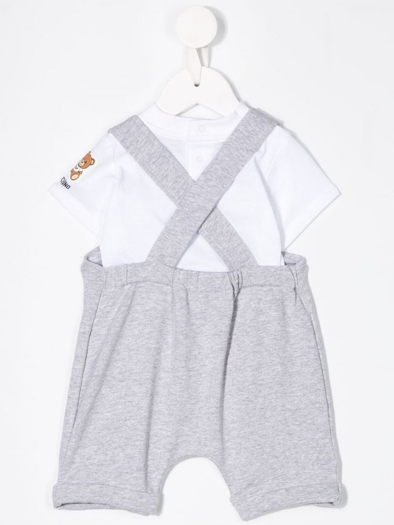 MOSCHINO KIDS: Teddy Logo stretch cotton t-shirt and overalls Color Grey_2