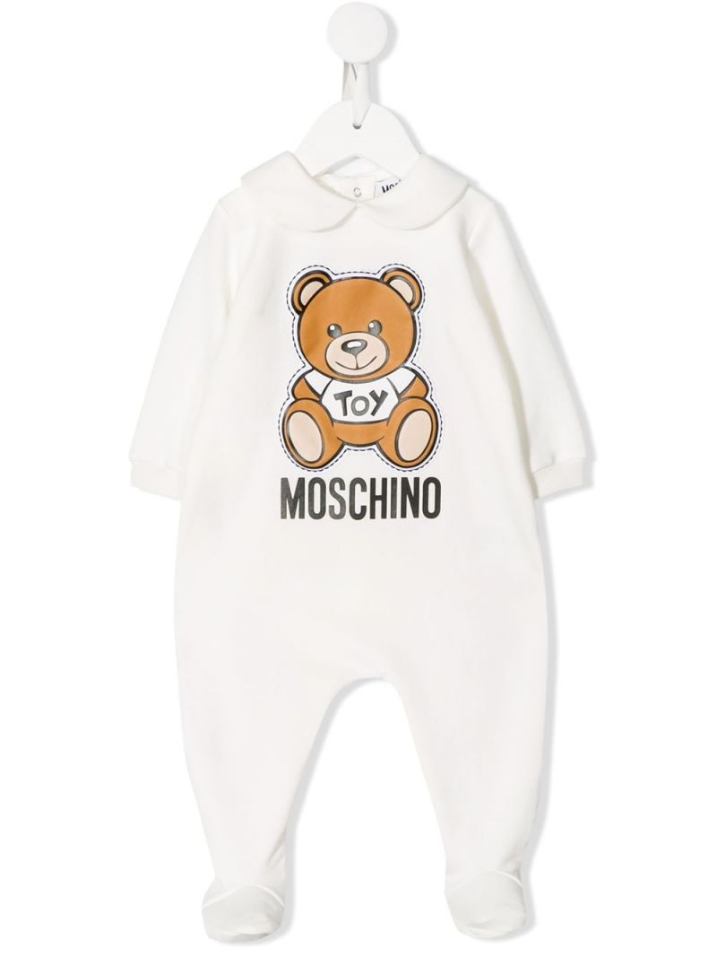 MOSCHINO KIDS: Moschino Teddy Bear print cotton blend babygrow Color Grey_1