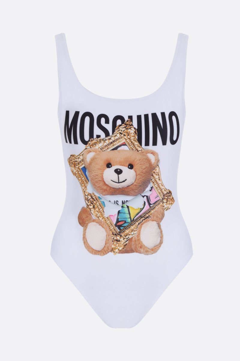 MOSCHINO: Frame Teddy Bear lycra one-piece swimsuit Color White_1