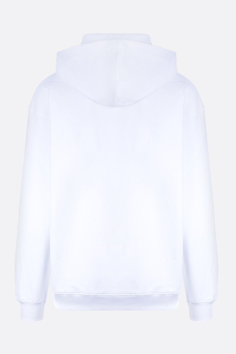 MOSCHINO: zipped logo cotton oversized hoodie Color White_2