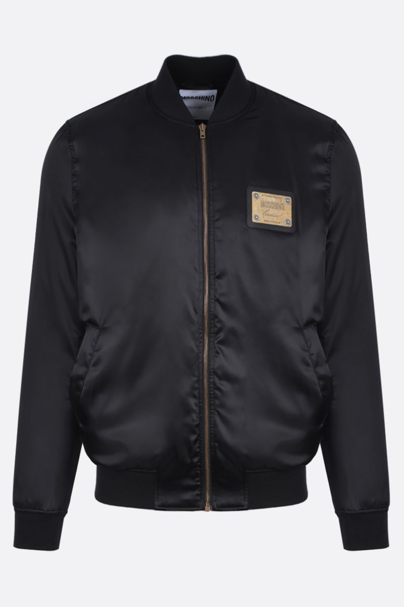 MOSCHINO: satin padded bomber jacket with logoed plaque Color Black_1