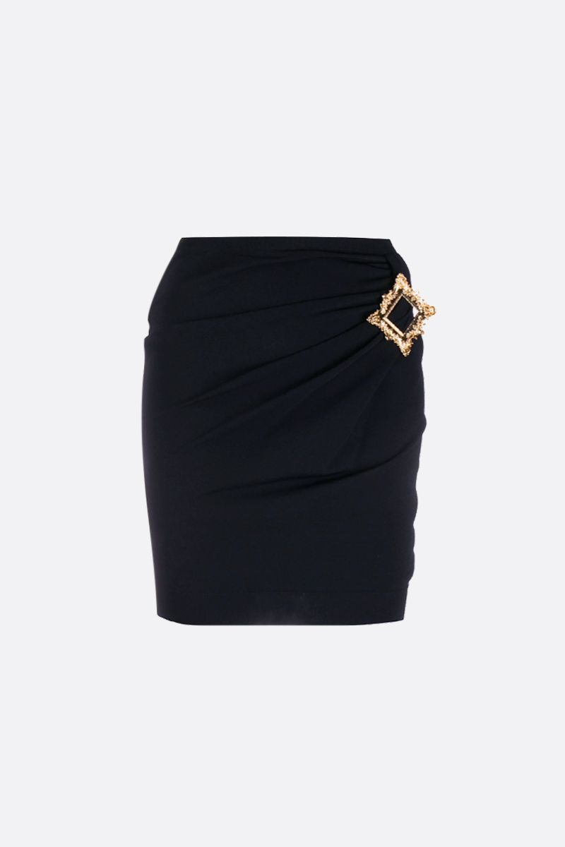 MOSCHINO: Gold Frame stretch jersey miniskirt Color Black_1